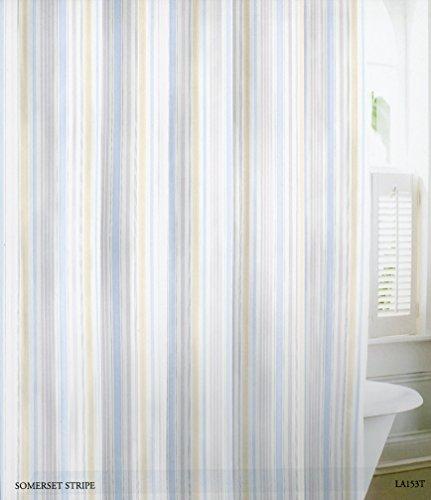 ... Laura Ashley Fabric Shower Curtain Somerset Stripe Light Blue Green  Gray White Stripes ...