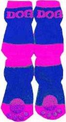 Dog Socks w/ Rubberized Soles: Purple & Blue / L