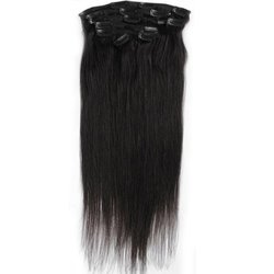 Emosa Silky soft 7Pcs 100% Remy Human Hair Clips In Extensions Full Head 20 inches #1 Jet Black