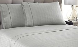 Kensignton Hotel 3-Piece Embossed Diamond Sheets - Platinum - Size: King