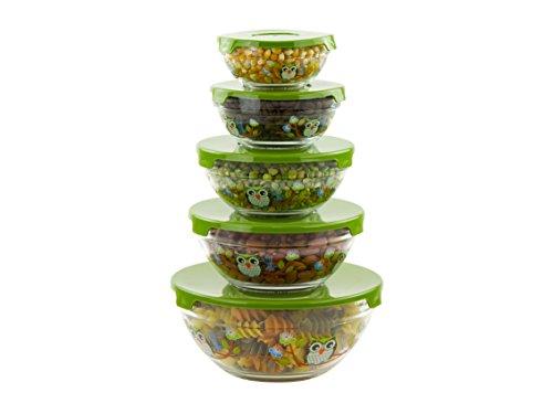 10 Piece Glass Bowl Set Owl DecalGreen Lids Check Back Soon BLINQ