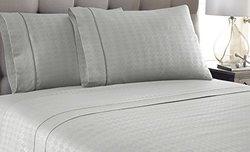 Kensignton Hotel 4-Piece Embossed Diamond Sheets - Platinum - Size: Queen