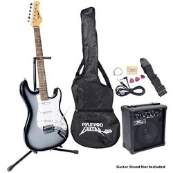 Pyle-Pro Beginner Electric Guitar Package bundle Grey Silver PEGKT15GS