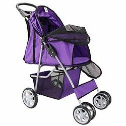 OxGord Cat/Dog Easy Walk Carrier Carriage - Purple - Size: 4-Wheeler