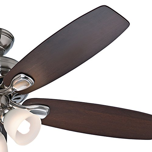 Hunter 52 U0026quot  Brushed Nickel 5 Blade Ceiling Fan With Light