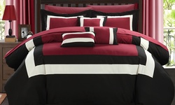 Danny Comforter Set with Sheets 10 Piece - Red- Size: Queen