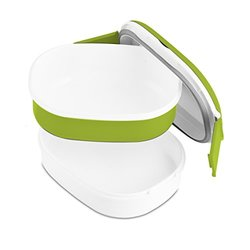 Modernhome Double Stacked Rectangular Microwavable Lunch Bowl, Chartreuse Green