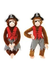 "Ddi 16"" Plush Pirate Monkeys - In 2 Natural Colors (Pack Of 24)"