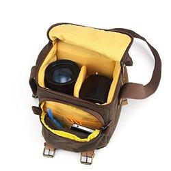 BESTEK Canvas SLR DSLR Digital Camera Shoulder Bag Case Handbag Messenger Bag Photography Bag Shockproof Pearl-cotton Liner with iphone and accessories pocket (Waterproof, Retro style, Multi-compartments and functional)