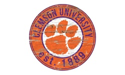 NCAA Distressed Round Sign - Clemson