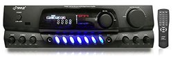 Pyle PT265BT Bluetooth 200 Watt Digital Receiver Amplifier for Karaoke Mixing with Two Microphone Inputs and Four Speaker Outputs